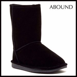 BLACK BOOTIES SUEDE SHEARLING LINED BOOTS A2C